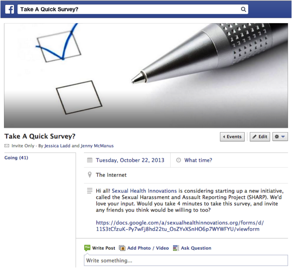 Image of facebook survey event invite